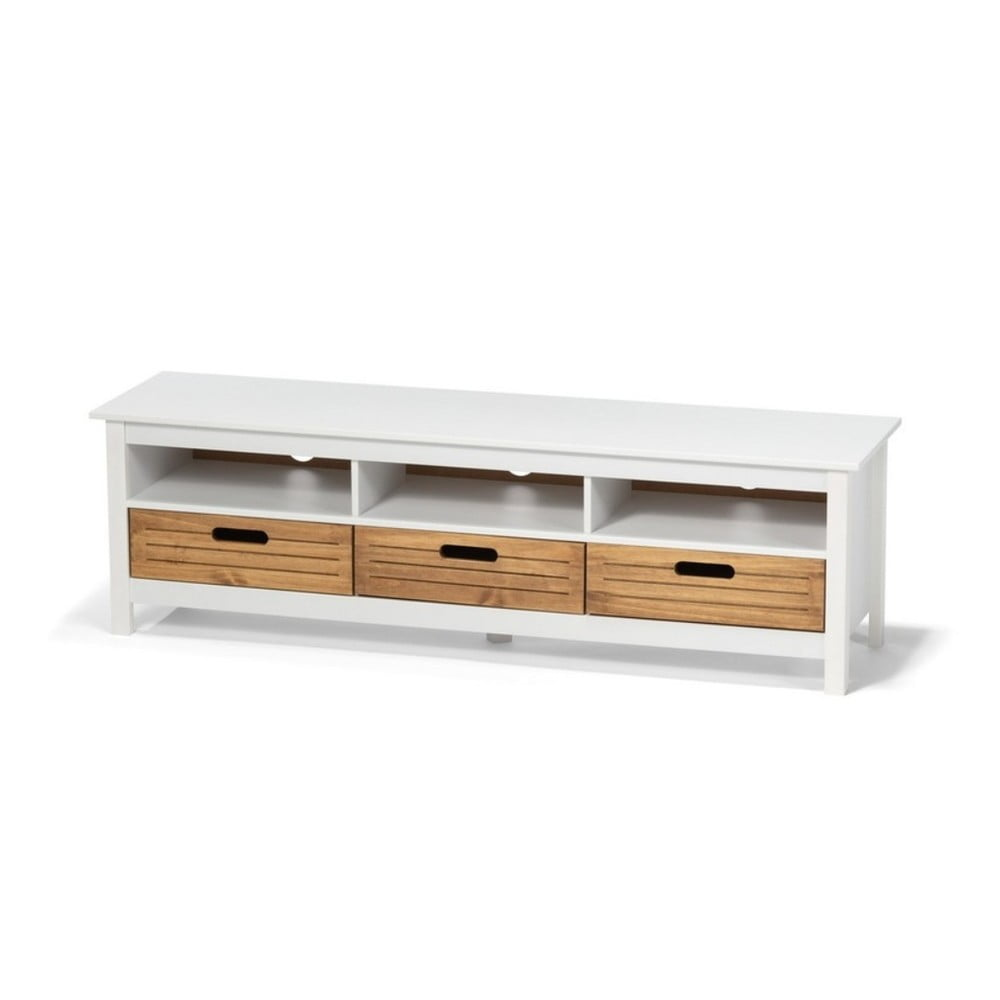 Biała komoda pod TV z drewna sosnowego z 3 szufladami loomi.design Ibiza