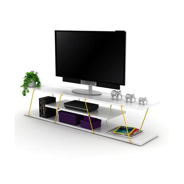 Biała szafka pod TV z żółtymi elementami Rafevi Tars