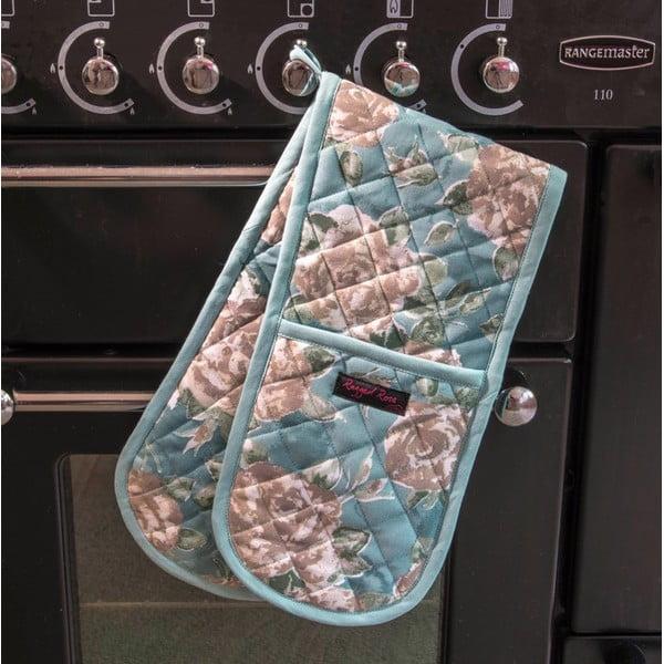 Niebieska podwójna rękawica kuchenna Ragged Rose Bertha