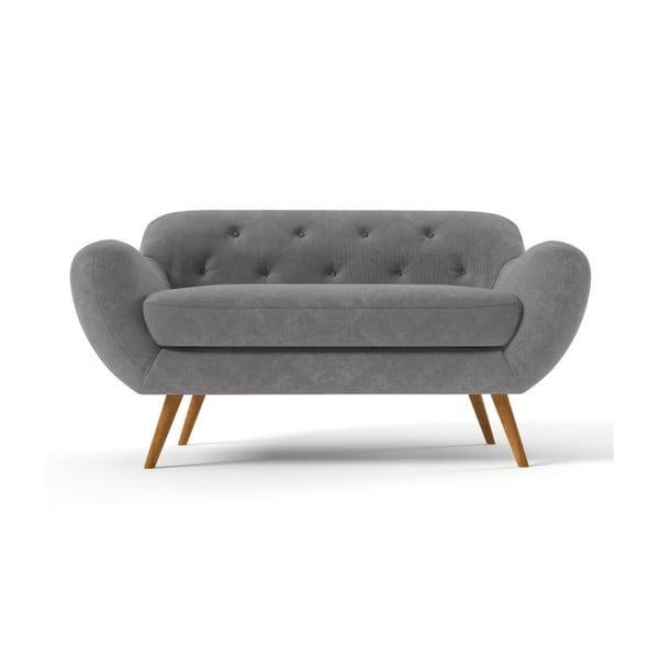 Ciemnoszara   sofa dwuosobowa z fioletowymi guzikami Wintech Zefir