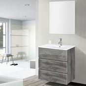 Szafka do łazienki z umywalką i lustrem Nayade, motyw vintage, 60 cm
