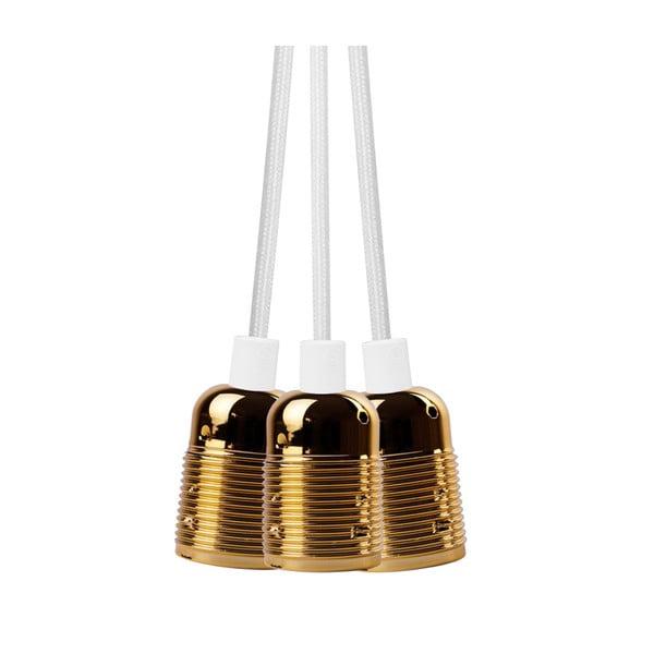 Biała potrójna lampa wisząca ze złotą oprawką Bulb Attack Uno Group