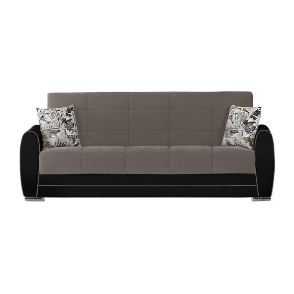 Czarno-szara trzyosobowa sofa rozkładana ze schowkiem Esidra Rest