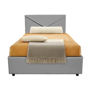 Szare łóżko jednoosobowe ze schowkiem 13Casa Mina, 95x205cm