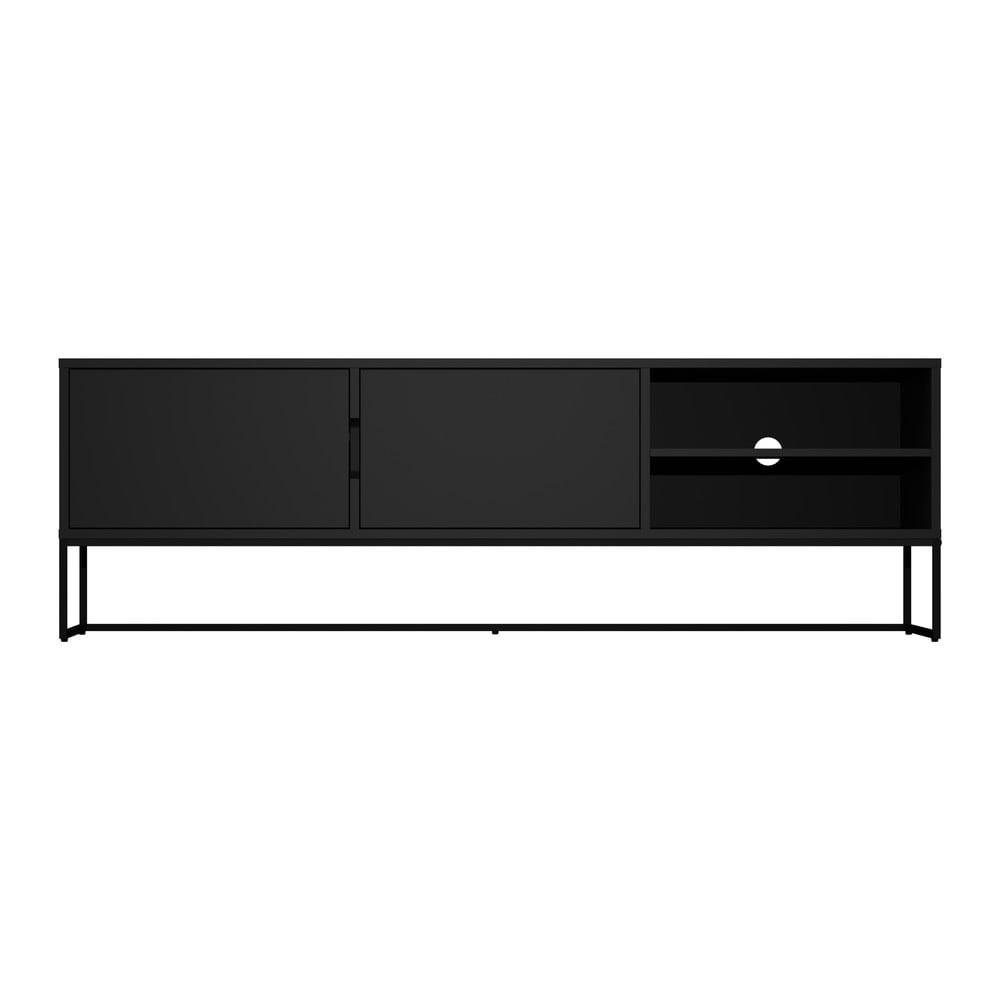 Czarna szafka pod TV z metalowymi nogami w czarnym kolorze Tenzo Lipp, szer. 176 cm