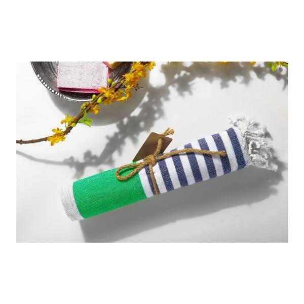 Ręcznik hammam Ellis Green/Blue, 100x180 cm