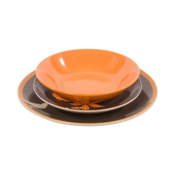 Komplet 18 porcelanowych talerzy Ramponi Grigio Arancio