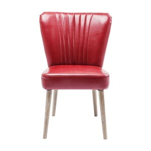 Czerwone krzesło skórzane z nogami z drewna jesionowego Kare Design Filou