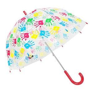 Dziecięcy parasol przezroczysty z czerwoną rączką Hands Up