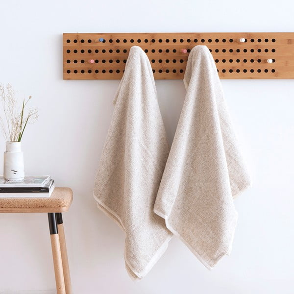 Komplet 2 kremowych ręczników Casa Di Bassi Stripe, 68x160 cm