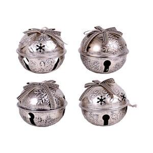 Zestaw 4 świątecznych dzwoneczków ze śnieżynkami Ego Dekor