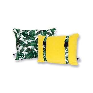 Żółta dwustronna poduszka plażowa Origama Leaf