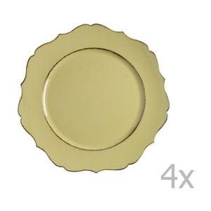 Zestaw 4 żółtych talerzy Blasone
