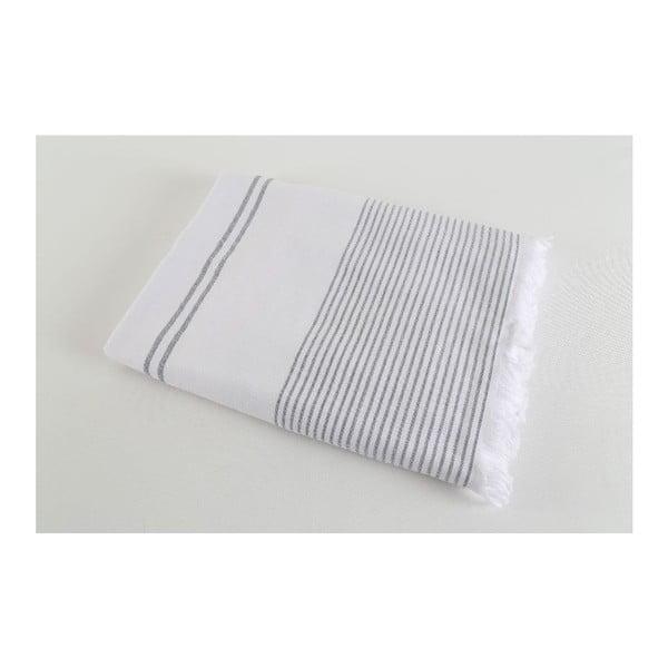 Czarno-biały ręcznik Hammam Leodikia, 100x150cm