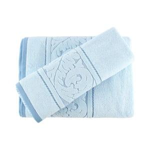 Zestaw niebieskiego ręcznika i ręcznika kąpielowego Sultan