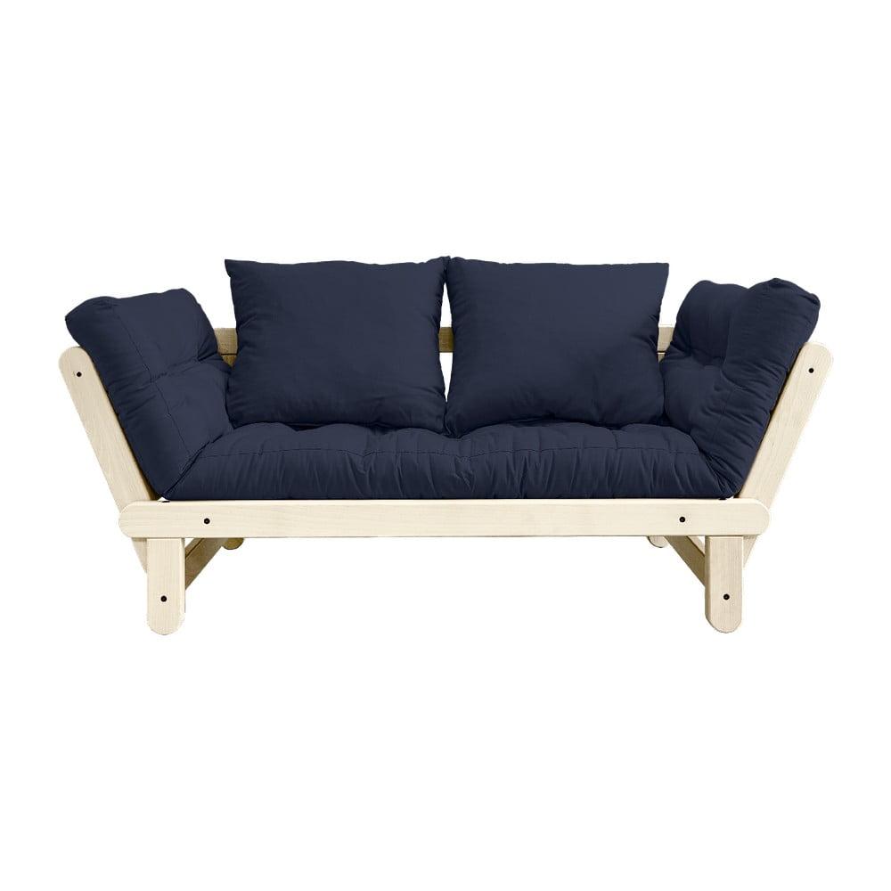 Sofa rozkładana z ciemnoniebieskim pokryciem Karup Design Beat Natural/Navy