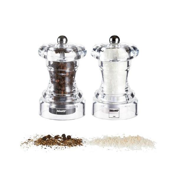Komplet 2 młynków do soli i pieprzu Bisetti, 10 cm