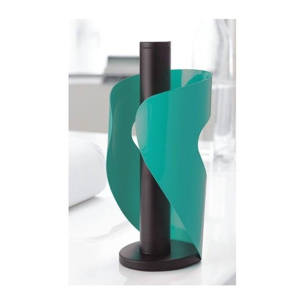 Turkusowo-czarny stojak na ręczniki papierowe Steel Function Pisa