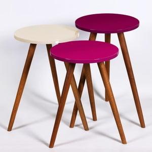 Zestaw 3 stolików Kate Louise Round (fioletowy, kremowy)