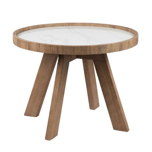 Drewniany stolik z białym blatem J-line Cer, 60 cm