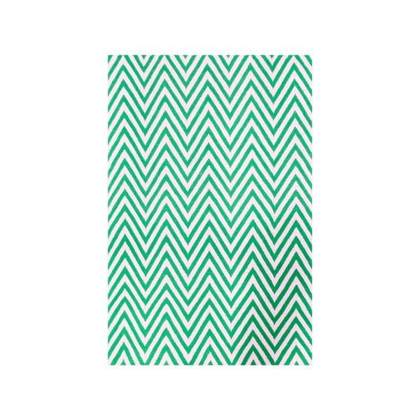 Dywan wełniany Zig Zag Green, 240x155 cm