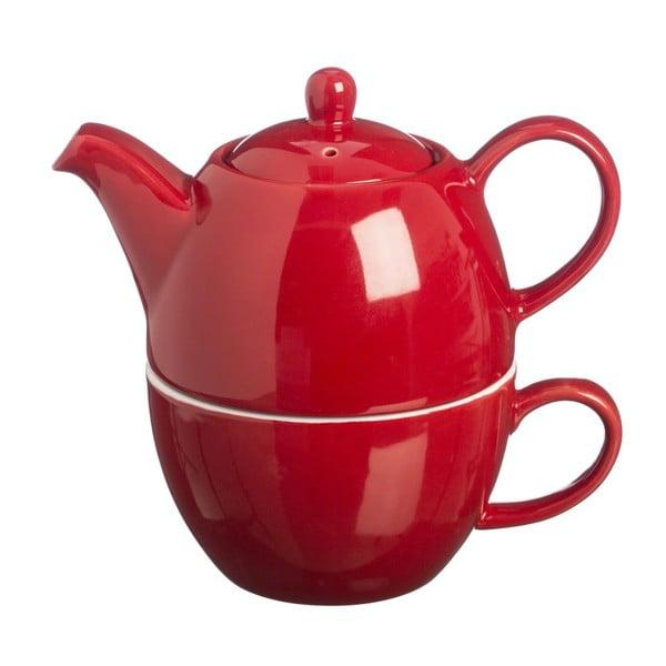 Dzbanek do herbaty z filiżanką Tea For One Bright Red, 400 ml
