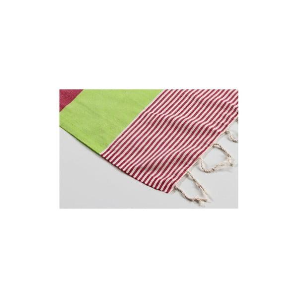 Ręcznik hamam Amerikan Green Red, 100x180 cm