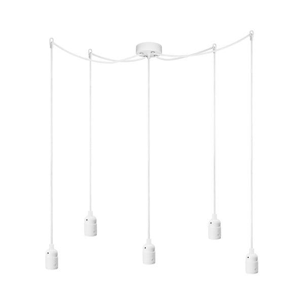 Biała lampa wisząca z 5 kablami Bulb Attack Uno Cassie
