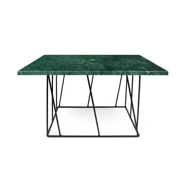 Zielony stolik marmurowy z czarnymi nogami TemaHome Helix, 75 cm