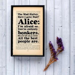 Plakat w   drewnianej ramie Alice in Wonderland Bonkers