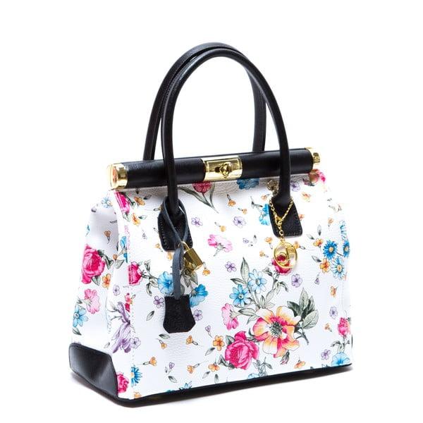 Skórzana torebka Carla Ferreri 901, w kwiaty