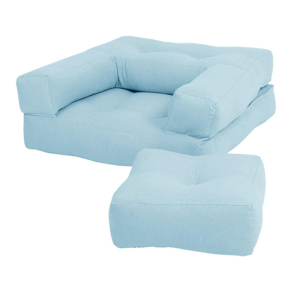 Jasnoniebieski dziecięcy fotel rozkładany z podnóżkiem/pufem Karup Design Mini Cube Light Blue