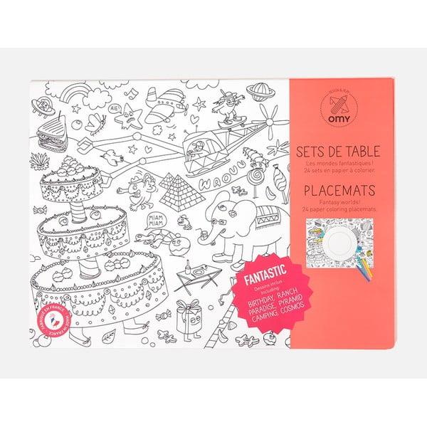 Mata stołowa - kolorowanka dla dzieci OMY Fantastic, 24 szt.