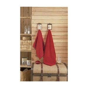 Czerwony ręcznik z lamówką Apolena, 70x140 cm