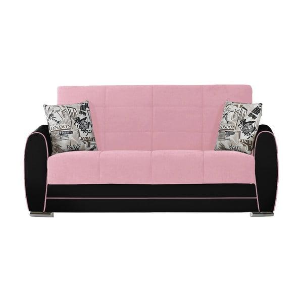 Różowo-czarna dwuosobowa sofa rozkładana ze schowkiem Esidra Rest