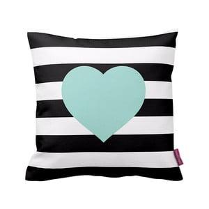 Czarno-biała  poduszka Stripes Blue, 43x43cm