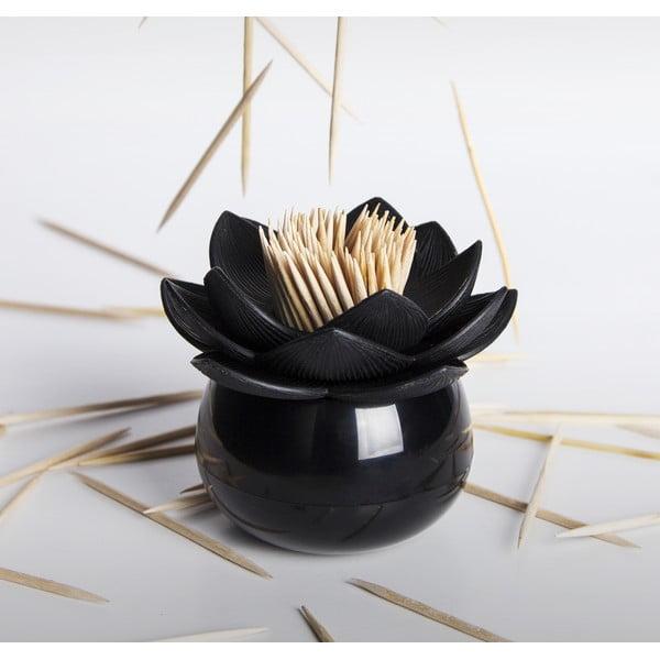 Pojemnik na wykałaczki QUALY Lotus Toothpick, czarny