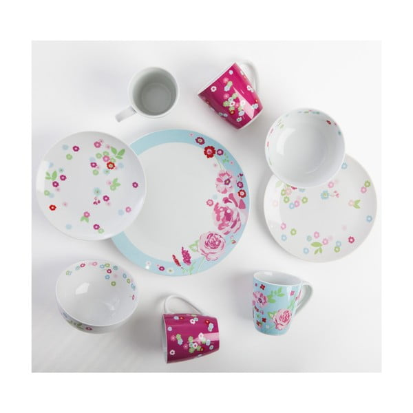Komplet 4 porcelanowych kubków Dahlia