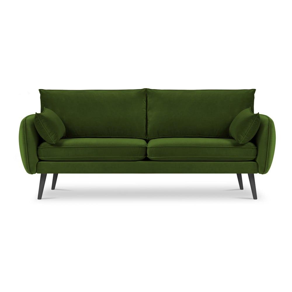 Zielona aksamitna sofa Kooko Home Lento, 198 cm