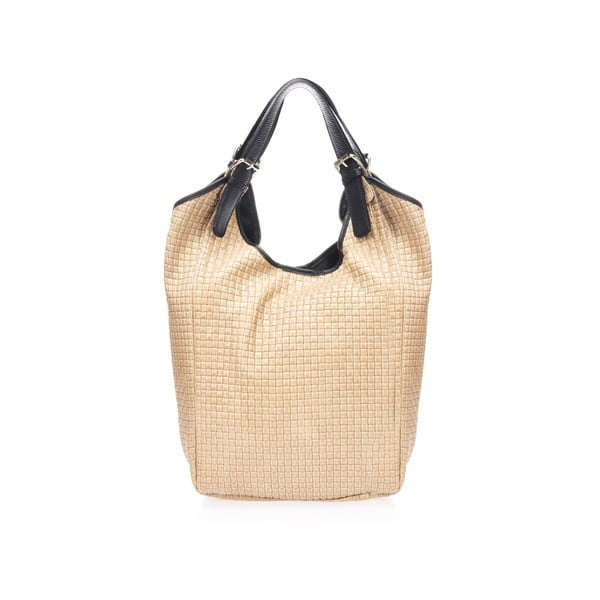 Beżowa torebka skórzana Giulia Massari Cuini