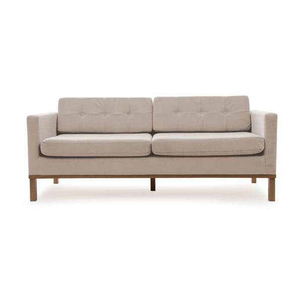 Bezowa sofa trzyosobowa z naturalnymi nogami Vivonita Jonan