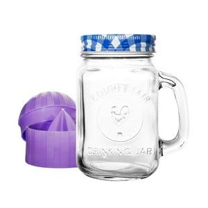 Szklanka z niebieską zakrętką i wyciskarką do cytrusów Mezzo Detox, 300 ml