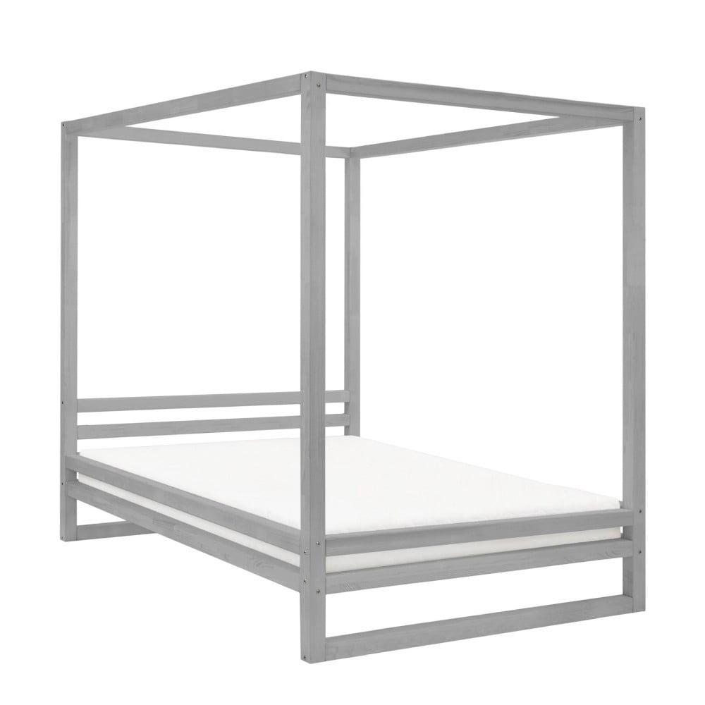 Szare drewniane łóżko dwuosobowe Benlemi Baldee, 190x160 cm
