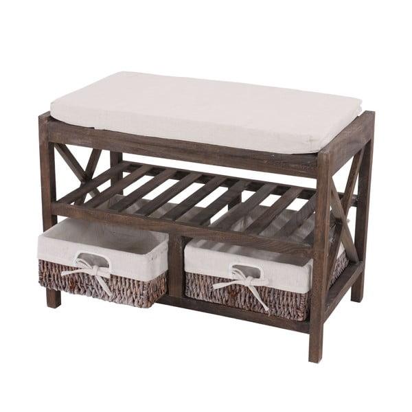 Brązowa ławka z miejscem na buty Mendler Shabby