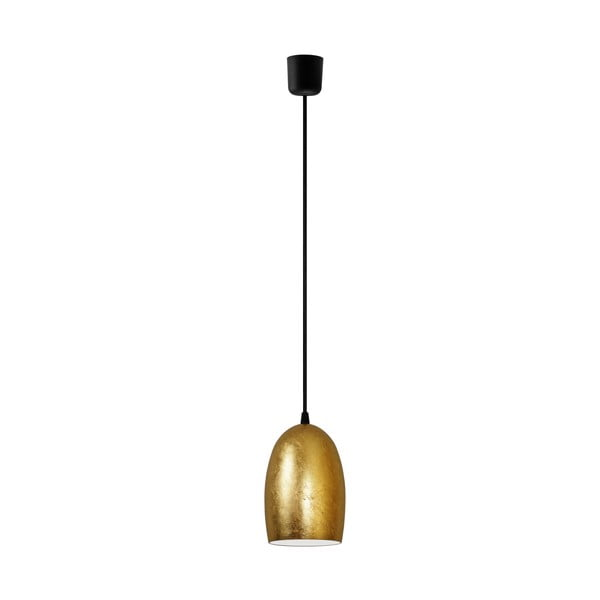 Złota lampa wisząca z czarnym kablem Sotto Luce UME