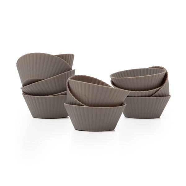 Zestaw 12 silikonowych foremek do muffinów Mini Grey Cupcakes