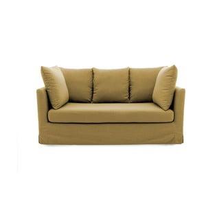 Musztardowa sofa trzyosobowa Vivonita Coraly