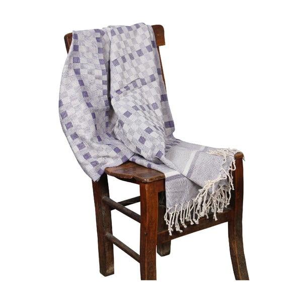 Fioletowy ręcznik hammam Hera Purple, 90x190cm