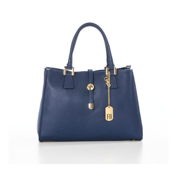 Skórzana torebka Federica Bassi Laura, niebieska