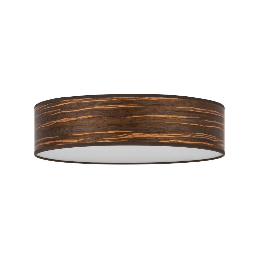 Ciemnobrązowa lampa sufitowa z abażurem z naturalnego forniru Bulb Attack Ocho, ⌀ 40 cm
